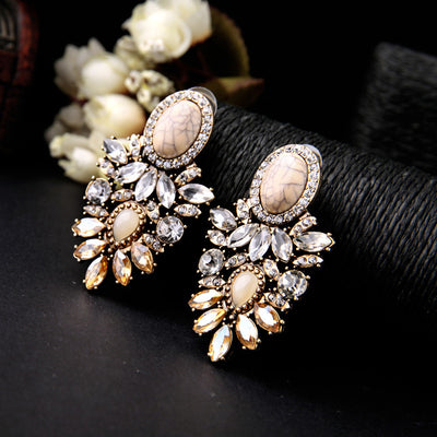 Elegant Retro Gemstone Earrings with Rhinestone