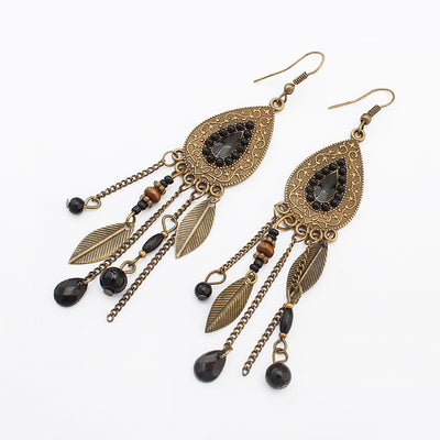Retro Tassel Alloy Resin Earring