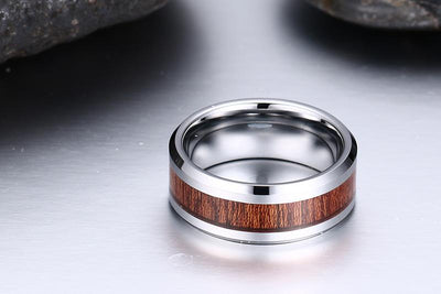 Polished Men's Tungsten Rings with Wood Inlay(8mm)