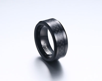 Personalized Classic Black Tungsten Rings with Carbon Fiber Center(8mm)