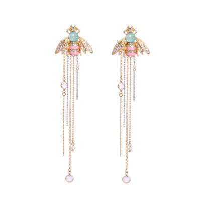 Unique Bee Earrings with Tassel