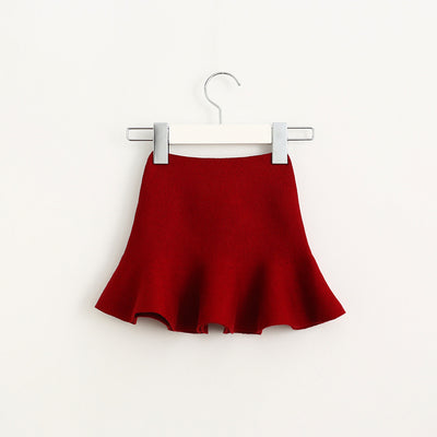 Lotus Leaf Hem Knit Skirt for Girls