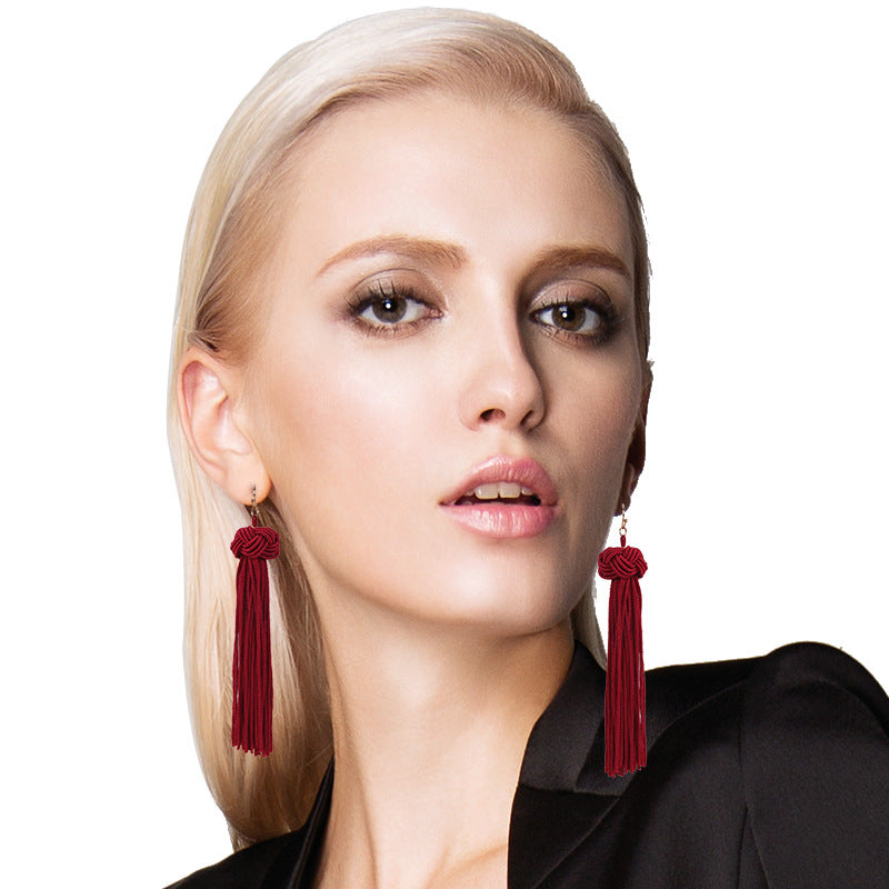 Hand-weave Long Tassel Earring