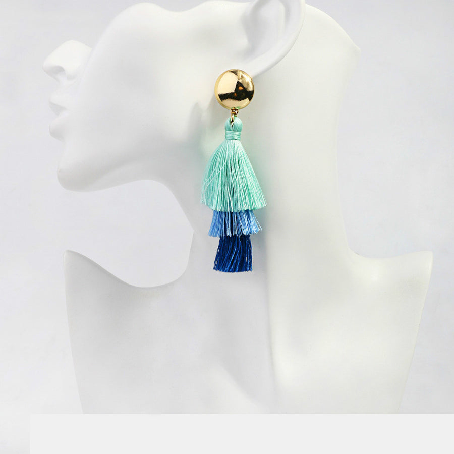 Silk Tassel Drop Earrings