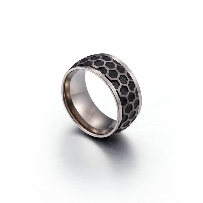 Personalized Men's Classic Titanium Ring with Black Grid 10mm