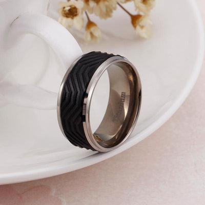 Classic Black Striped Titanium Ring for Men 10mm