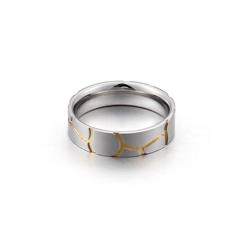 Personalized Unique Men's Titanium Ring with Gold Plated 8mm