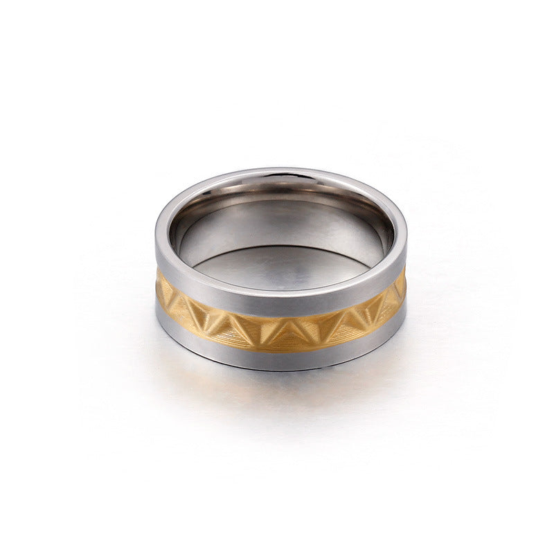 Personalized Men's Titanium Ring with Gold Plated 8mm