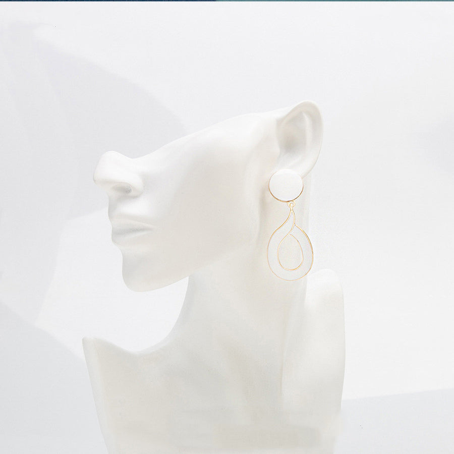 Elegant White Glaze Plated Drop Earrings