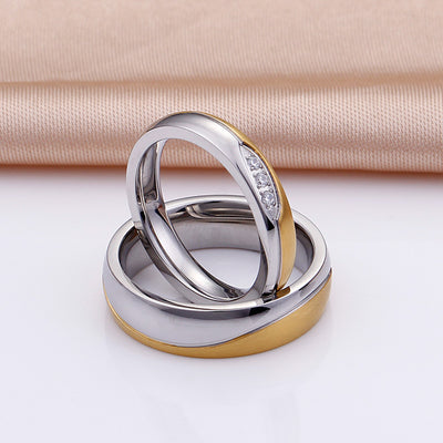 Personalized Elegant Titanium Promise Rings for Couples with Gold Plating