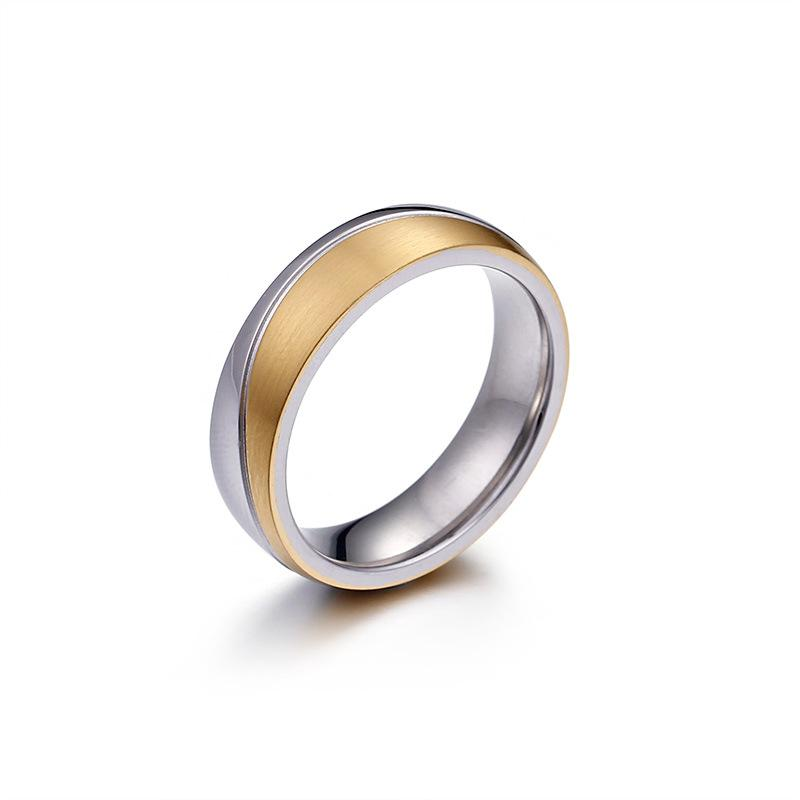 Elegant Titanium Promise Rings for Couples with Gold Plating