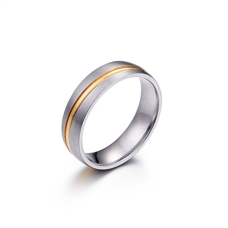 Gold Plated Titanium Rings for Couples 6mm