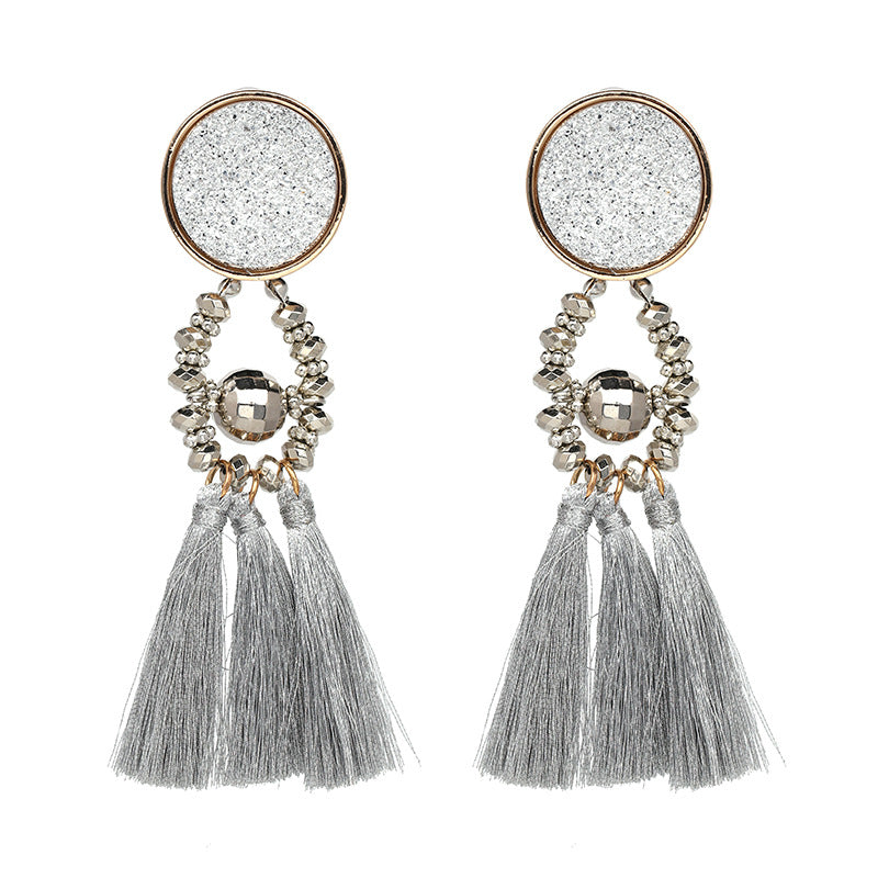 Resin Tassel Drop Earrings