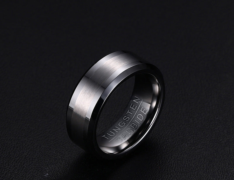 Personalized Matte Brushed and Polished Classic Tungsten Rings for Men(8mm)