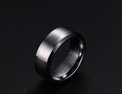 Matte Brushed and Polished Classic Tungsten Rings for Men(8mm)