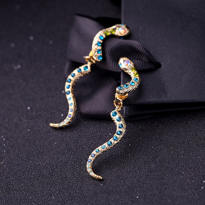 Serpentine Gold Plating Stud Earrings with Blue Rhinestone