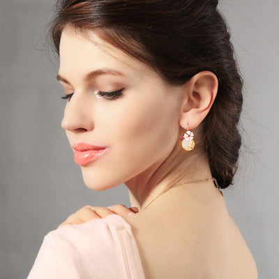 Cute Floral Crystal Gemstone Drop Earrings