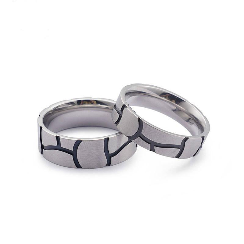 Matte Finished Couple Titaniun Rings with Striped Design