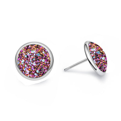 Shiny Multicolor Resin Stud Earrings