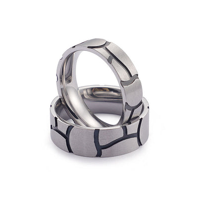 Personalized Matte Finished Couple Titaniun Rings with Striped Design