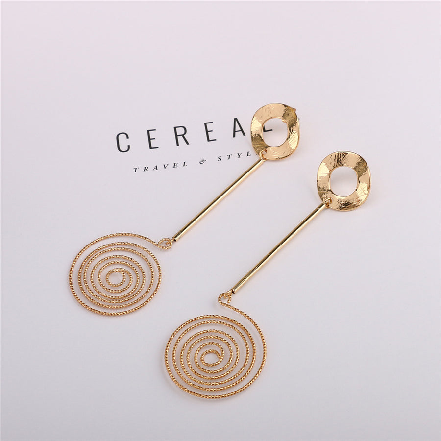 Unique Gold Plated Spiral Earrings
