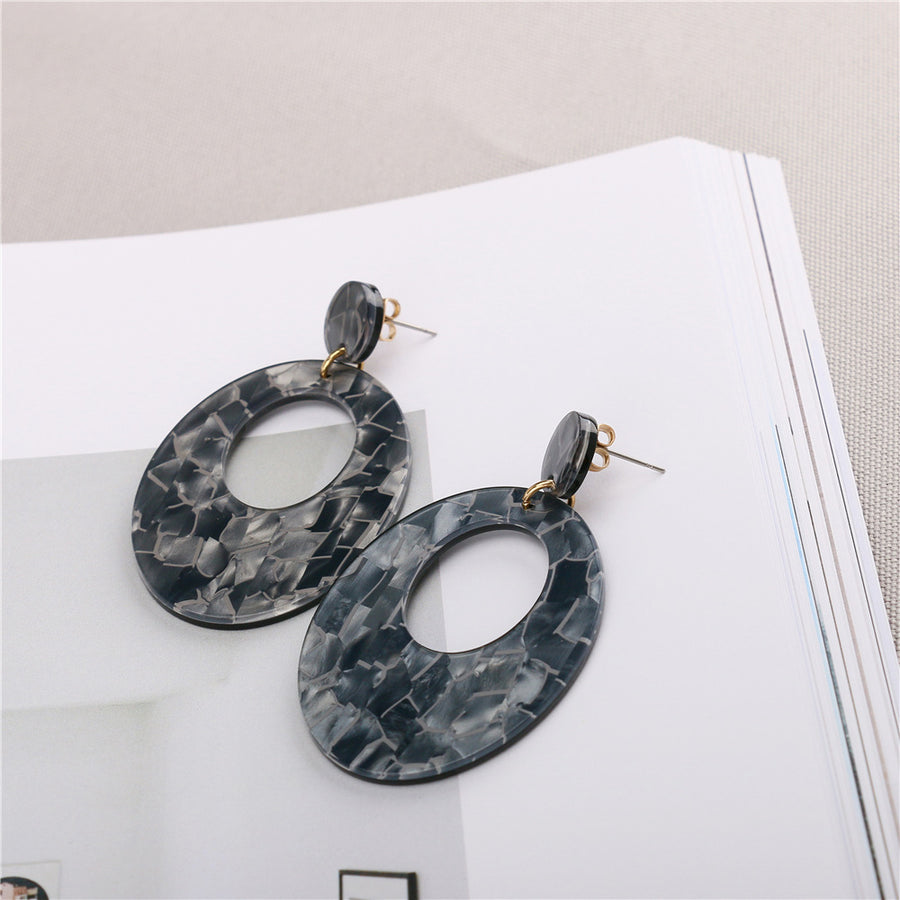 Unique Gray Acetate Hoop Earrings