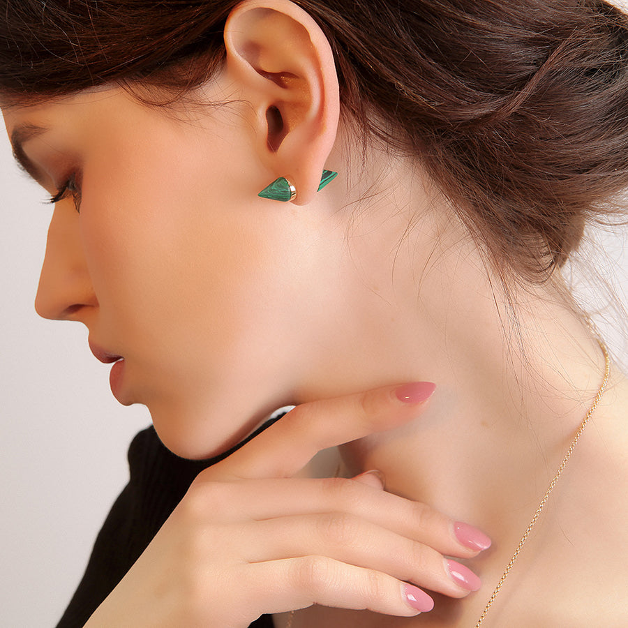 Double-sided Green Malachite Stud Earrings