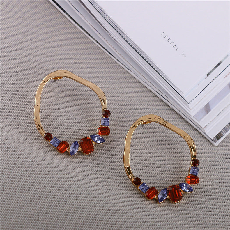 Irregular Hoop Earrings with Crystal Gemstone