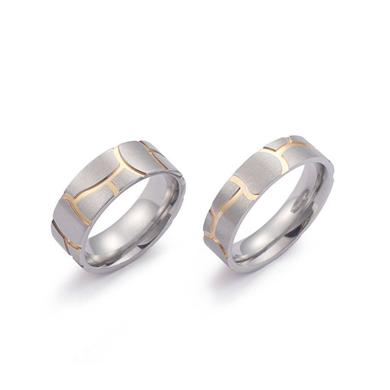 18K Gold Plated Classic Design Titanium Rings for Couples 7/6mm