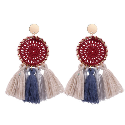 Hand-weave Round Earring with Tassel