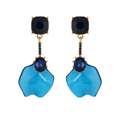 Elegant Blue Gemstone Resin Drop Earrings