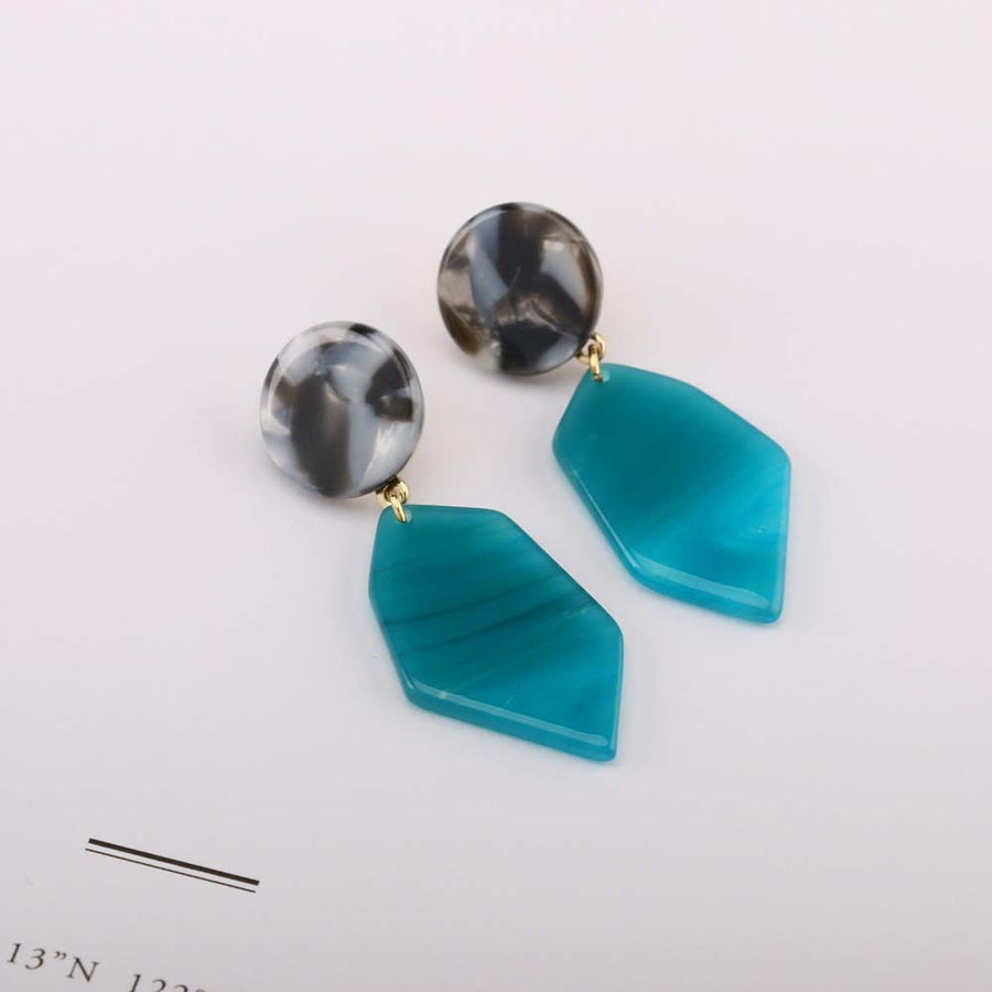 Irregular Green Acetate Earrings