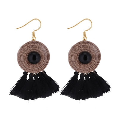 Retro Linen Rope Hand-weave Earring with Tassel