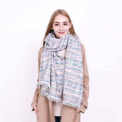 Women Fashion Stripe Wrap Scarf with Tassel