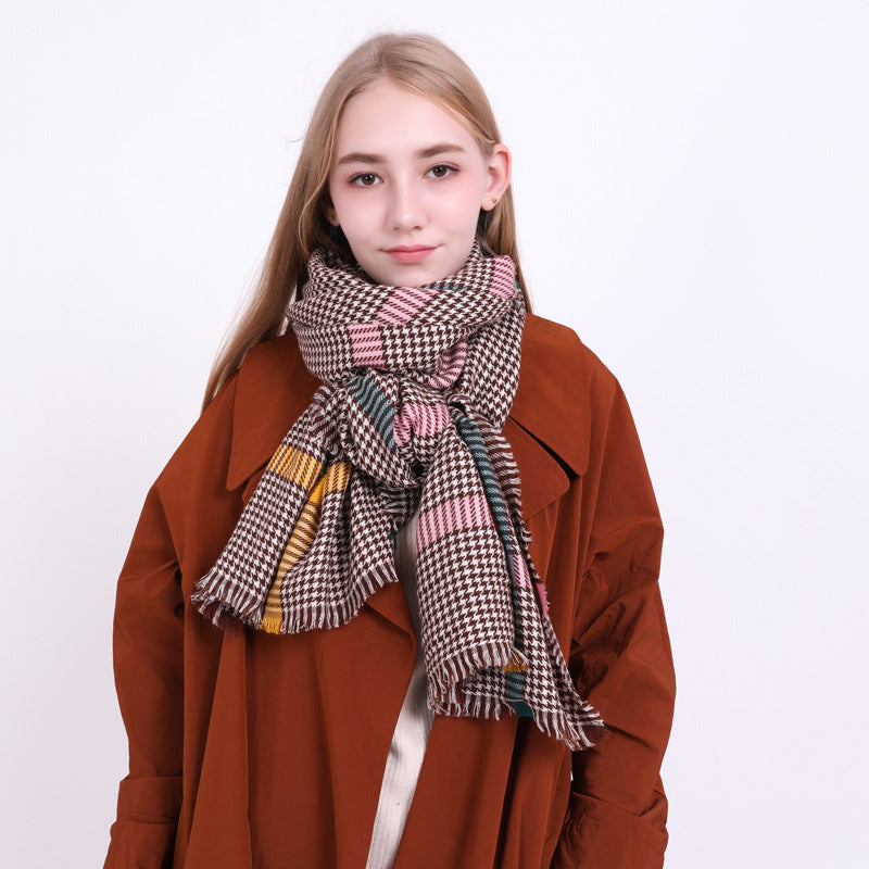 Winter Warm Plaid Blanket Scraf for Women