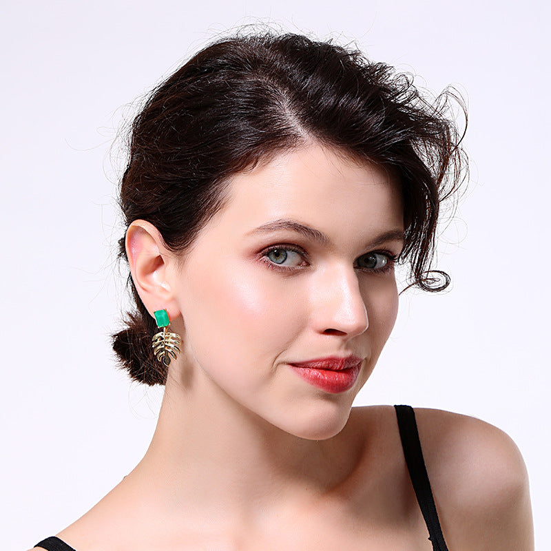 Creative Gold Plating Palm Leaf Drop Earrings