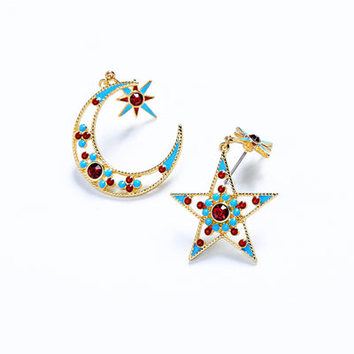 Fashion Enamel Star Moon Drop Earrings
