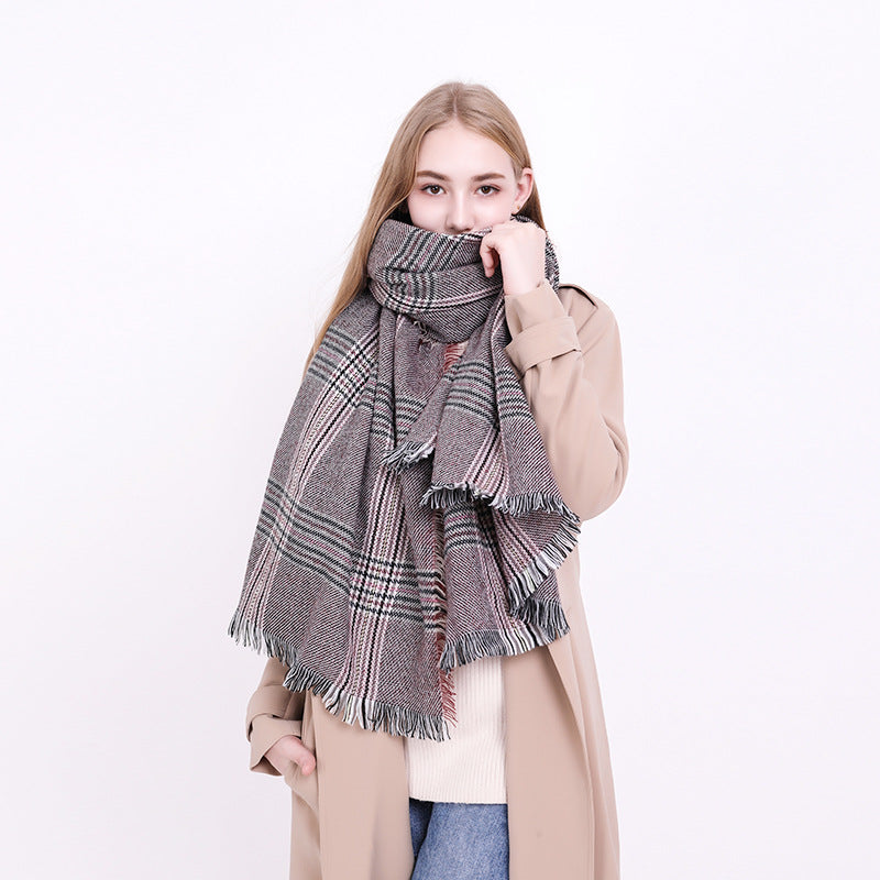 Women Fashion Plaid Blanket Scarf with Tassel