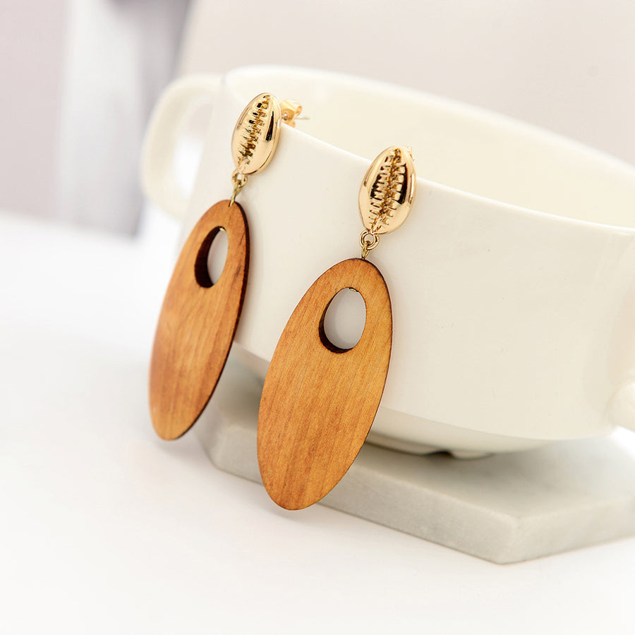 Vintage Wood Drop Earrings