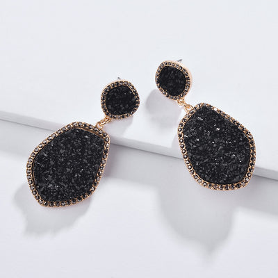 Irregular Druzy Drop Earrings