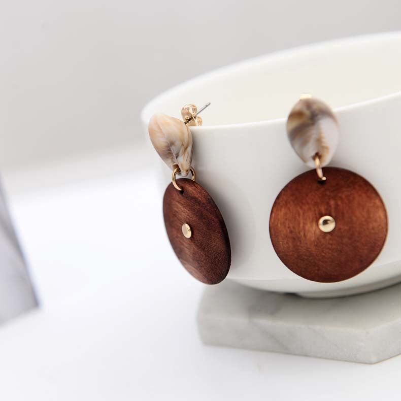 Unique Shell and Wood Earrings