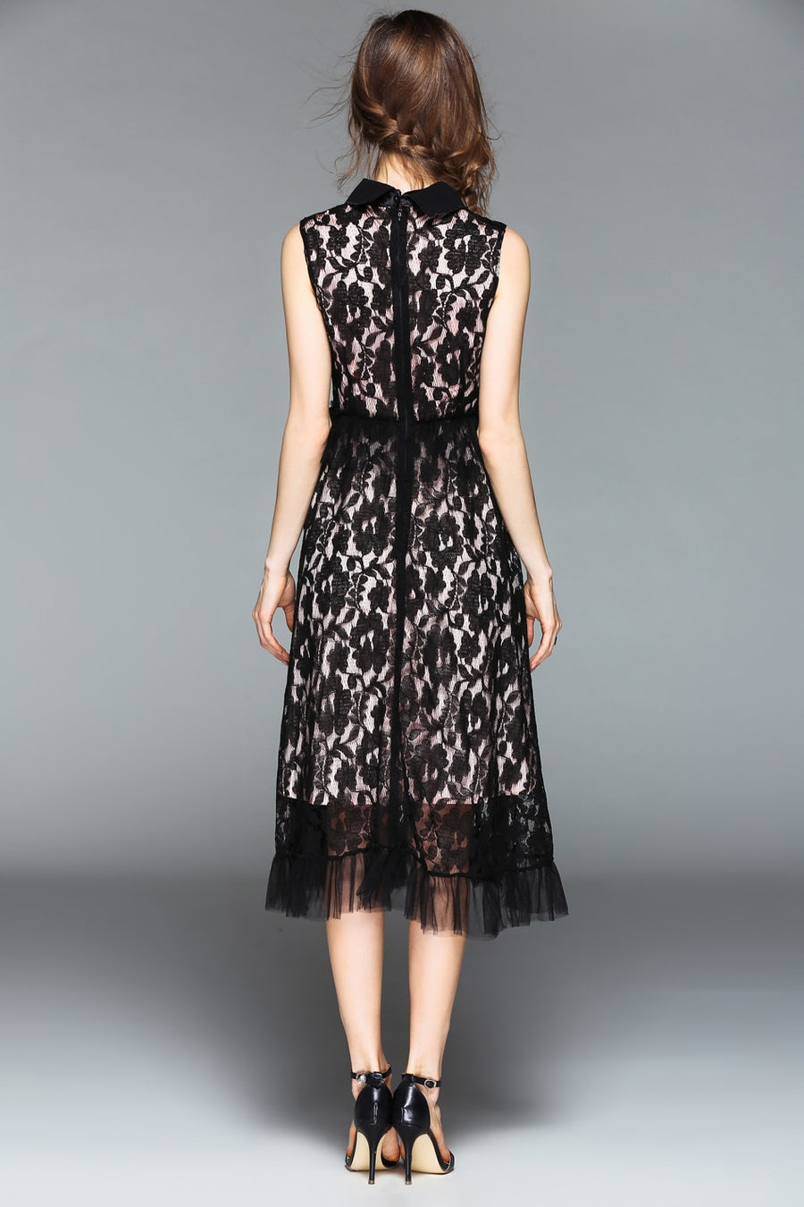 Black Sleeveless Lace Floral Hollow Out Dress with Peral Front Decoration