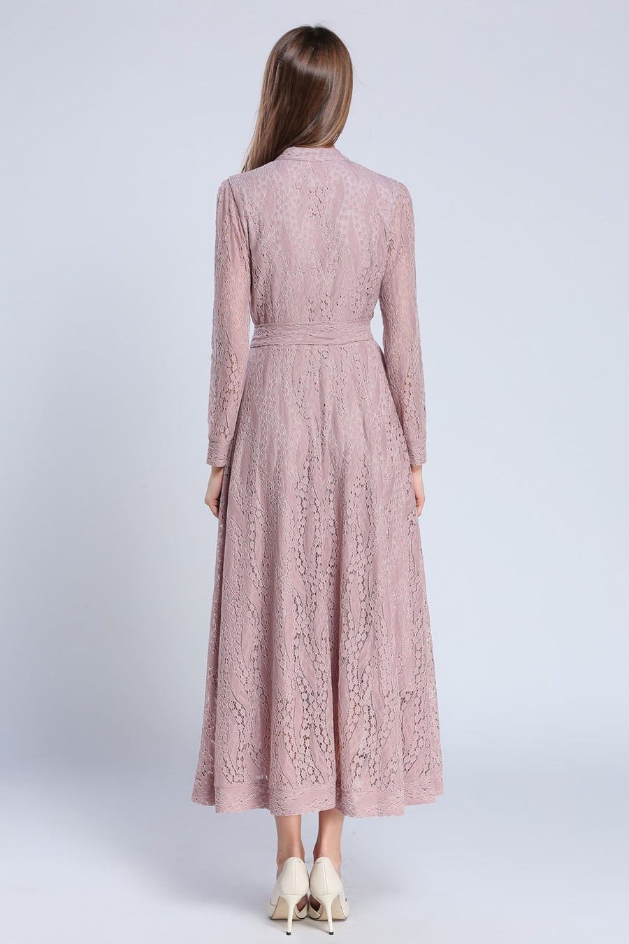 Light Pink Long Sleeve Lace Hollow Out Maxi Dress with Buttons Front