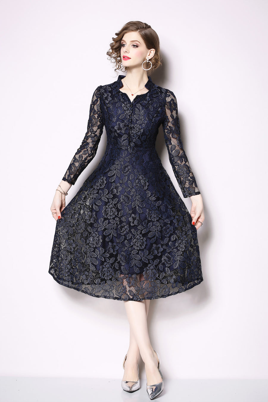 Blue Lace Floral Hollow Out Long Sleeve Midi Dress with Buttons Front