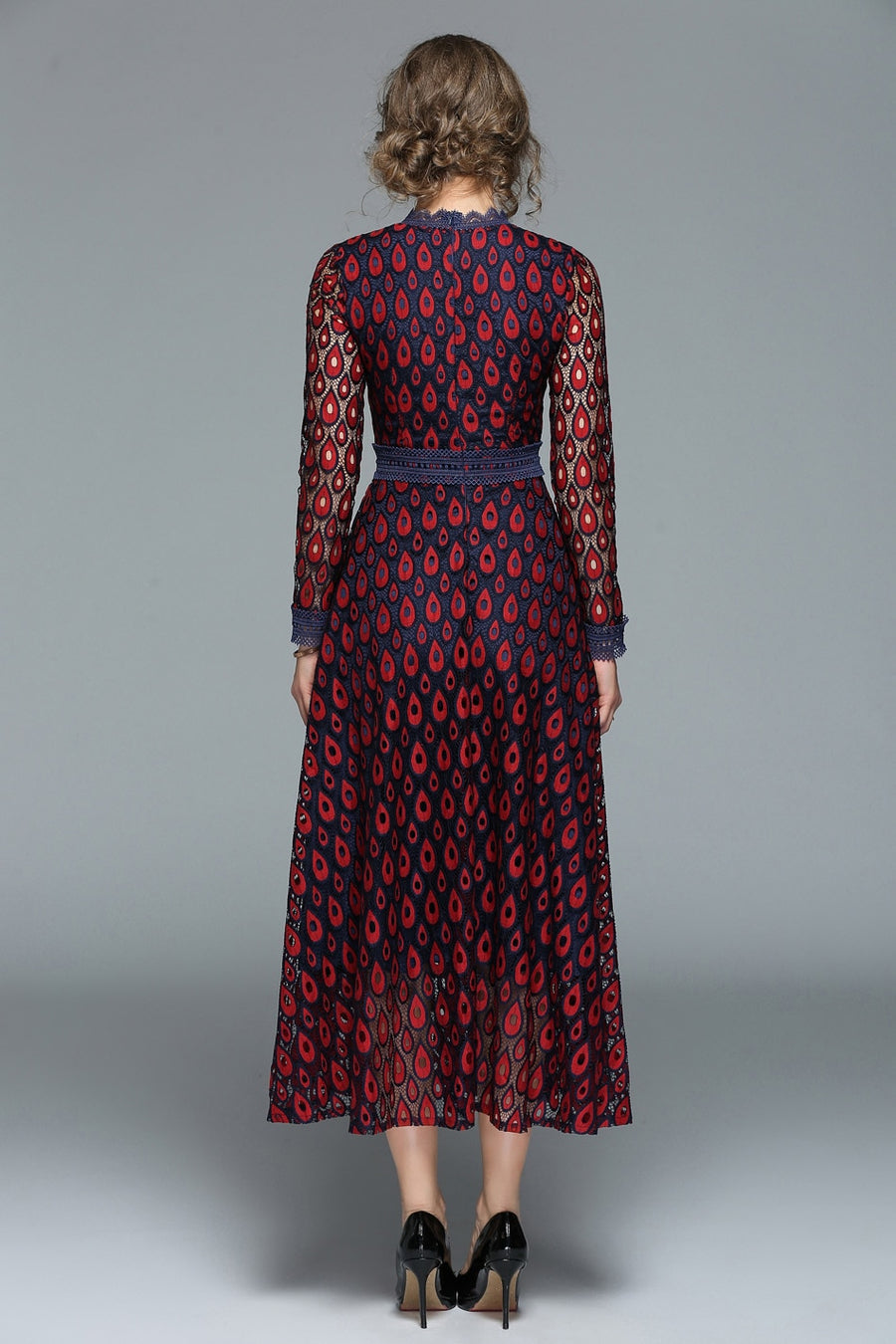 Unique Red Peacock Pattern Lace Hollow Out Maxi Dress