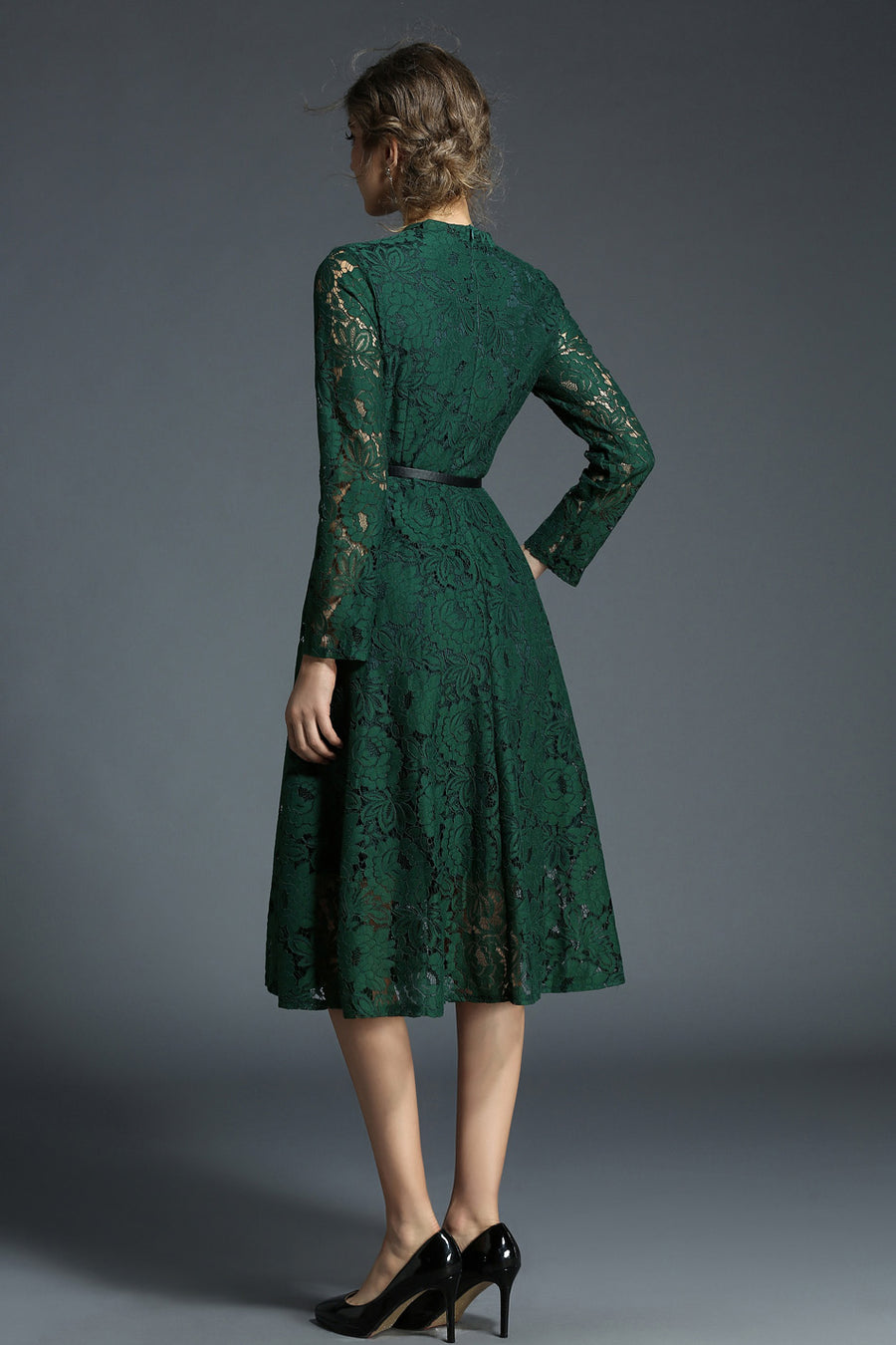 Green V-neck Lace Floral Hollow Out Midi Dress