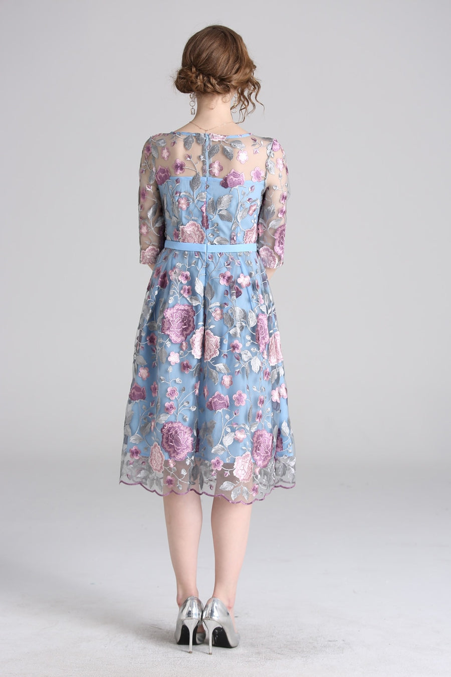 Blue Lace Floral Embroidery Knee-length A-line Dress