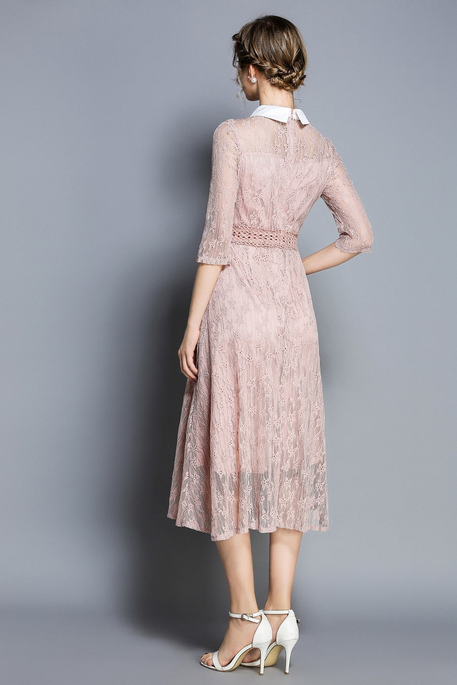Light Pink Turnover Collar Lace A-line Midi Dress
