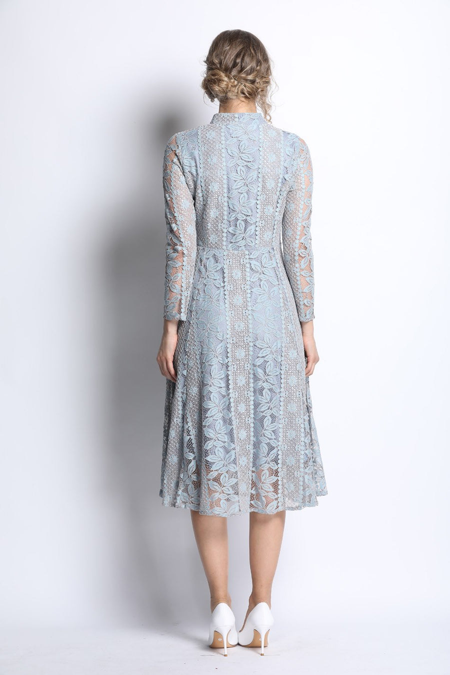 Light Blue Lace Hollow Out Slim Midi Dress with Peral Buttons Front