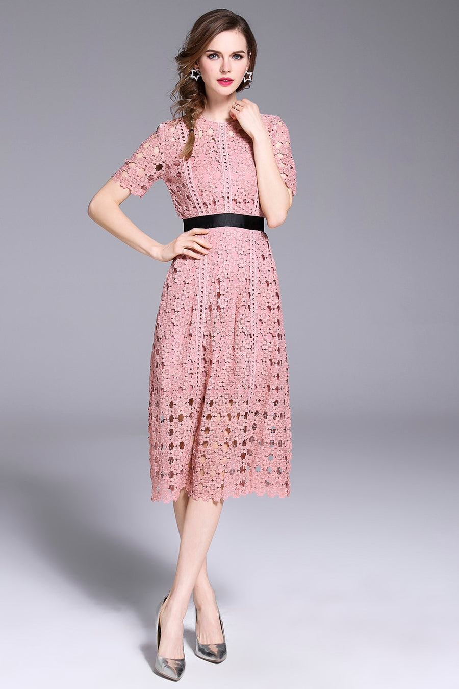 Pink Short Sleeve Lace Hollow Out Casual Midi Dress